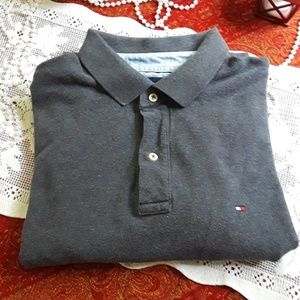Tommy Hilfiger Men's Grey Short Sleeve Polo LG